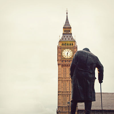 Politics and Society Department image of statue of Churchill in front of Big Ben in London
