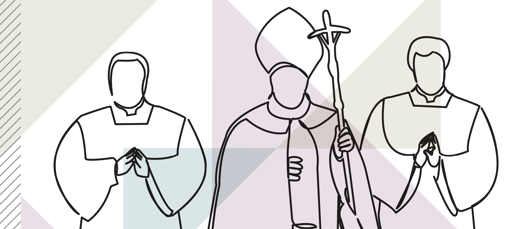 illustration showing line drawing of three clergymen