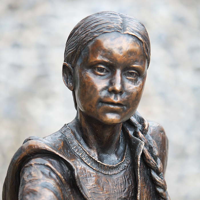 face of bronze statue