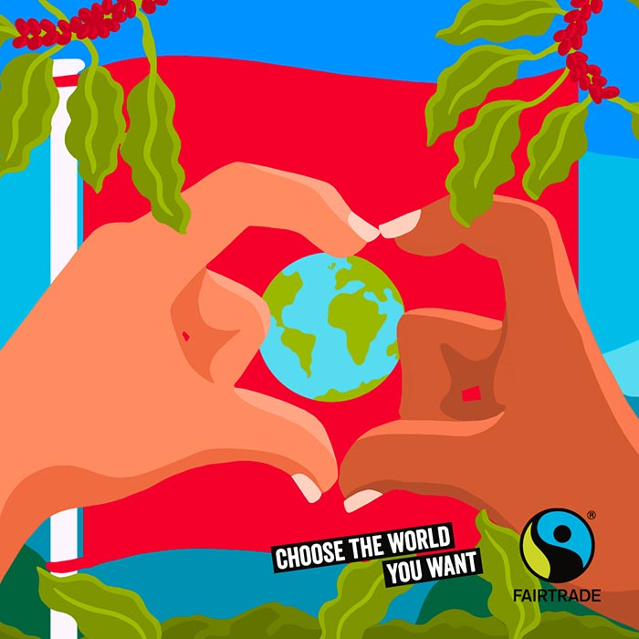 colourful illustration of two hands holding the world