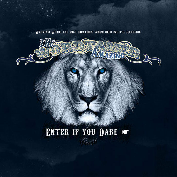 'The Amazing Wordtamer - Enter if you dare' picture of black and white lion with blue eyes