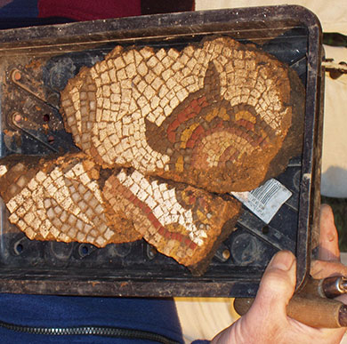 Archaeology at Winchester: fragment of a Roman mosaic
