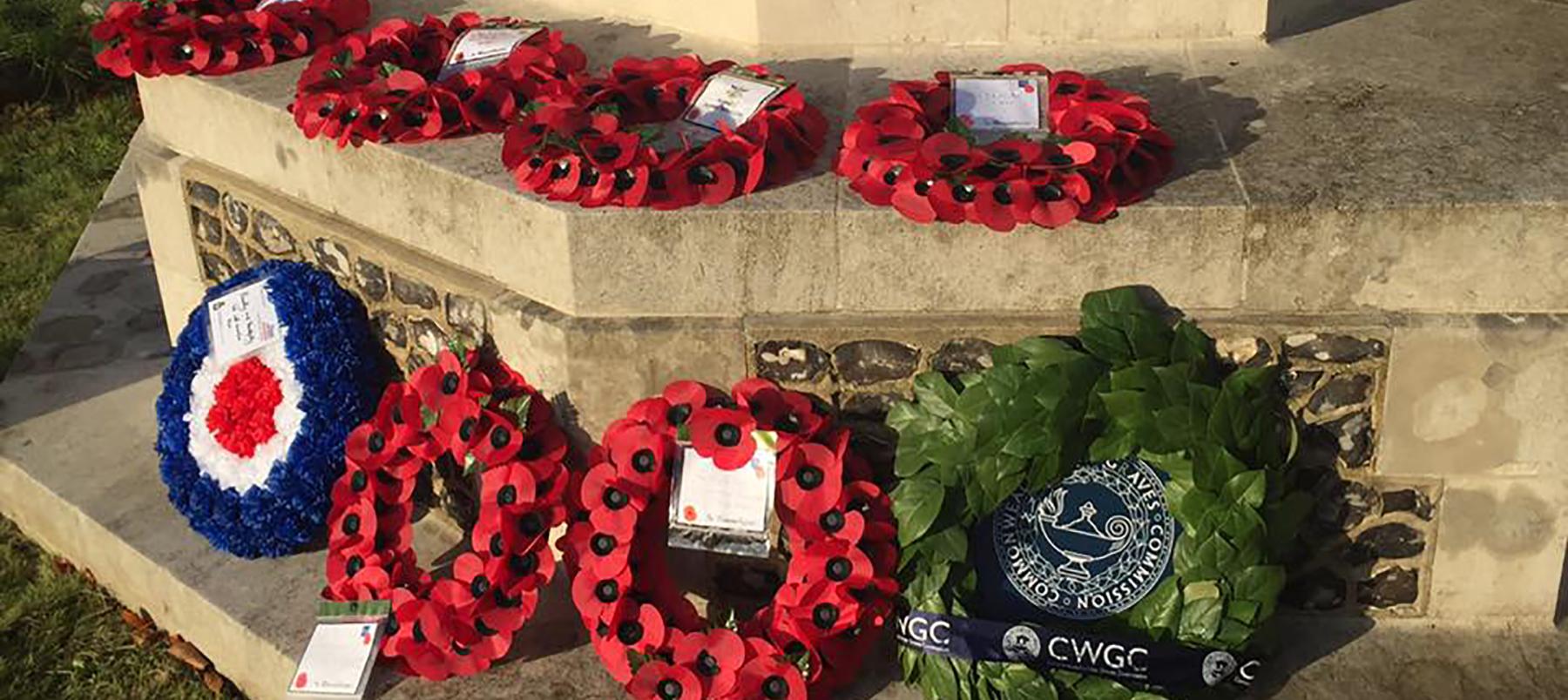 World War I commemoration at West Hill Cemetery, Winchester: wreaths laid at the cross of remembrance