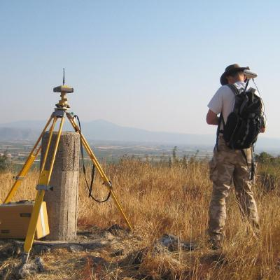 Archaeology, Anthropology and Geography at the University of Winchester: Geoarchaeologist Prof. Keith Wilkinson carrying out landscape survey in a mountainous landscape in Greece