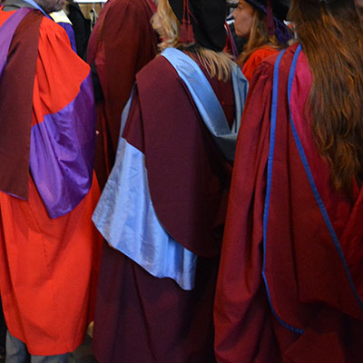 Postgraduate research degrees of graduating PhD students in Winchester cathedral
