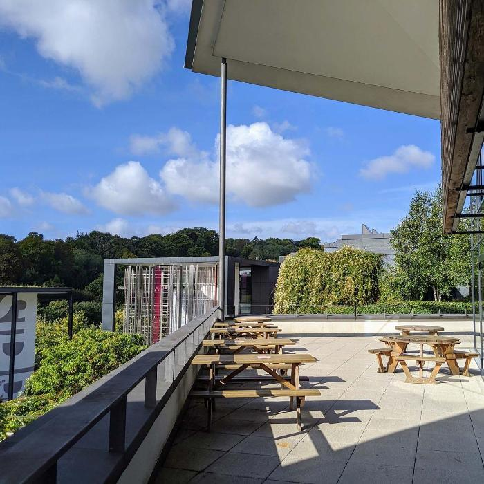 Sunny campus and terrace bar