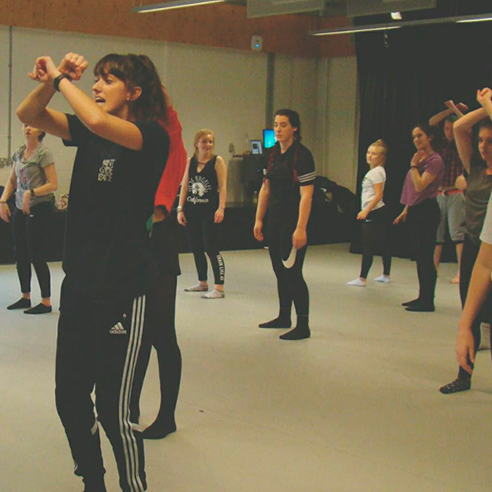 Students dancing in a studio