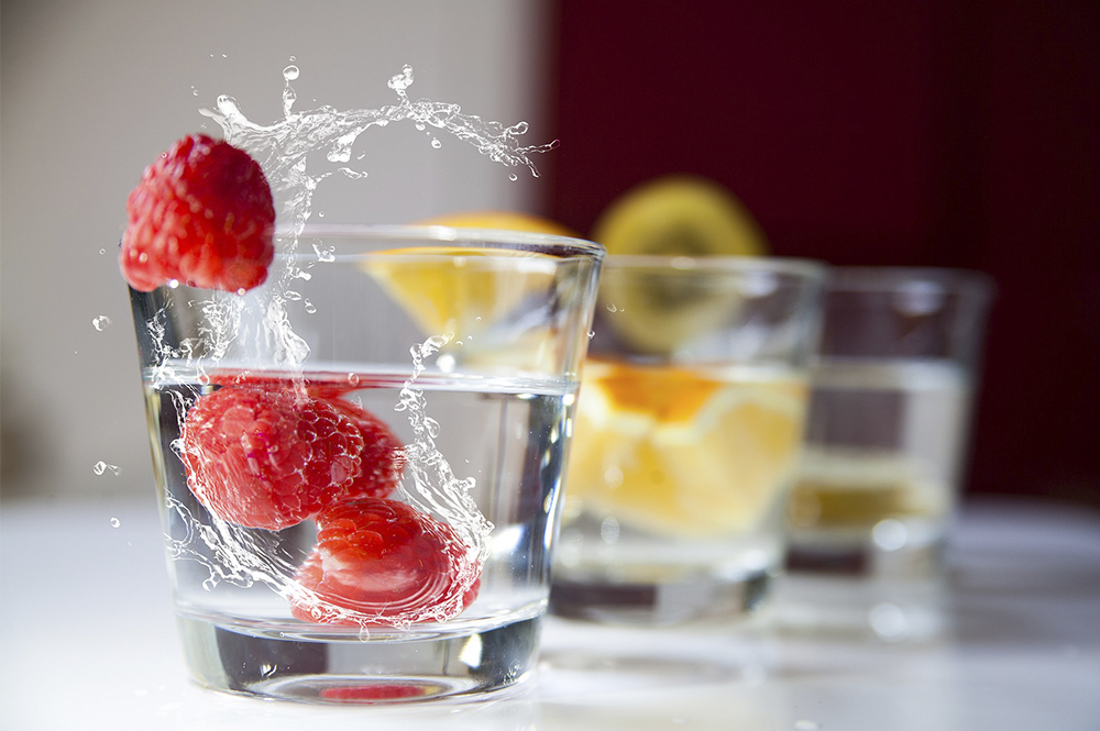 Water with fruit in