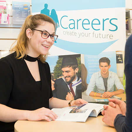 Student using the Careers Support service